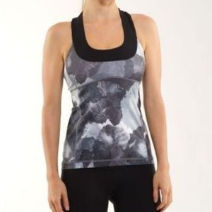 Lululemon scoop neck tank blk/white coal